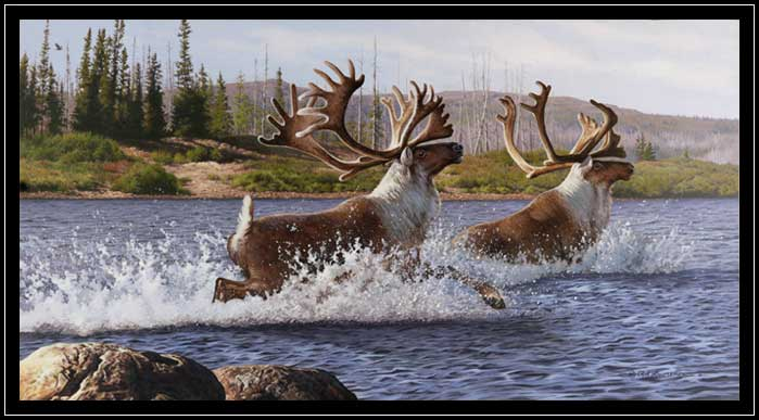 "Image of painting ""Caribou Crossing""."
